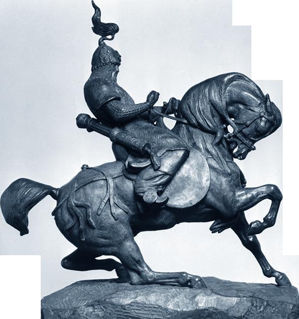Татарский воин проверяет своего коня / Tartar warrior checking his horse (Guerrier tartare arrêtant son cheval; Un cavalier chinois). Бронзовая скульптура 1845 г.
